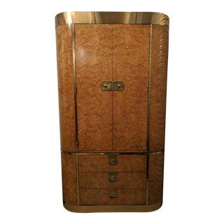 1970s Vintage Mastercraft Burl Wood Armoire For Sale