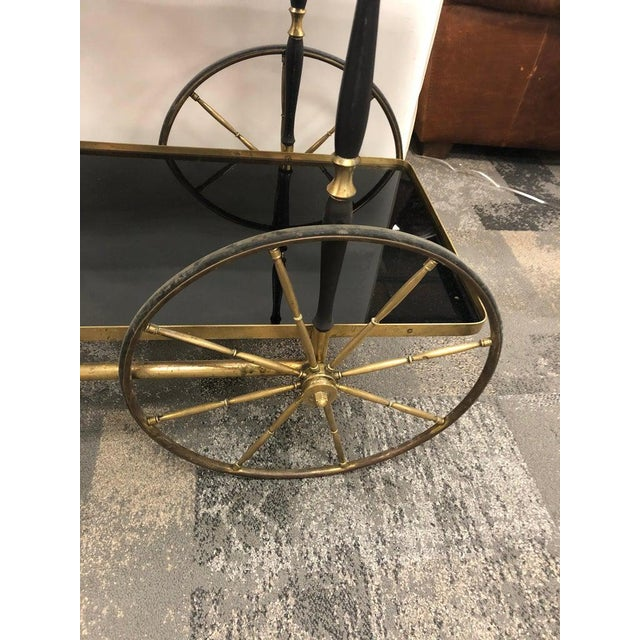 1960s Mid-Century Italian Brass Bar Cart by Morex For Sale - Image 5 of 7