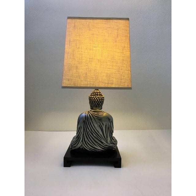 1950s Silver and Black Lacquered Buddha Table Lamp For Sale - Image 5 of 10