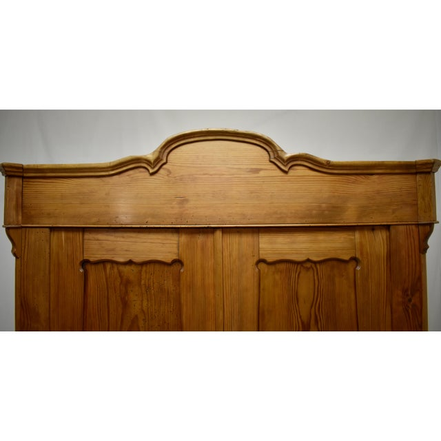 Late 19th Century Pitch Pine Bonnet Top Two Door Armoire For Sale - Image 5 of 13