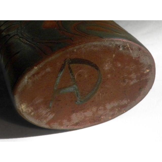 Vintage Andersen Design Vase in Red Leaf on Ebony Glaze Pattern For Sale In Portland, ME - Image 6 of 7