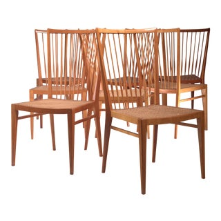 Set of Eight Pear Wood and Cane Dining Chairs, Italy, 1960s For Sale