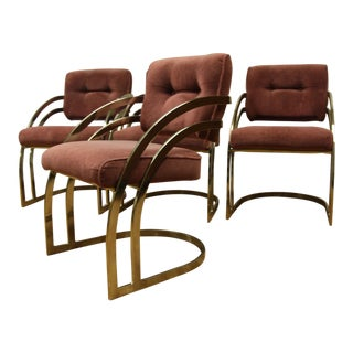 Milo Baughman Style Brass/Gold Dining Chairs - Set of 4