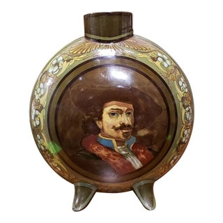 1883 English Doulton Lambeth Faience Porcelain Rembrandt Portrait Footed Moon Flask Vase by James Cruickshank For Sale
