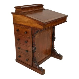 1880s English Burl Wood and Satin Wood Davenport Writing Desk
