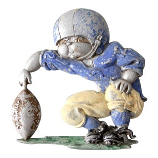Vintage 1970s Metal Football Player Wall Art For Sale