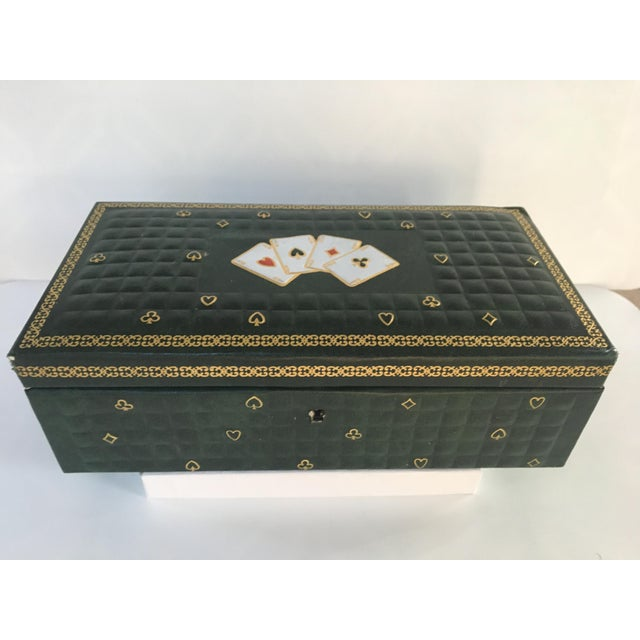 1950s Vintage Italian Quilted Green Card / Game Box For Sale - Image 12 of 13