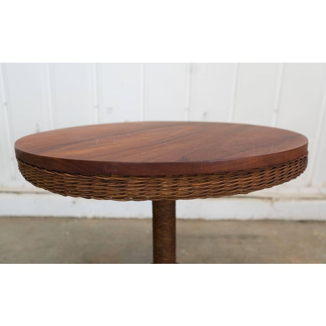 Boho Chic Wicker and Wood Pedestal Table For Sale - Image 3 of 7