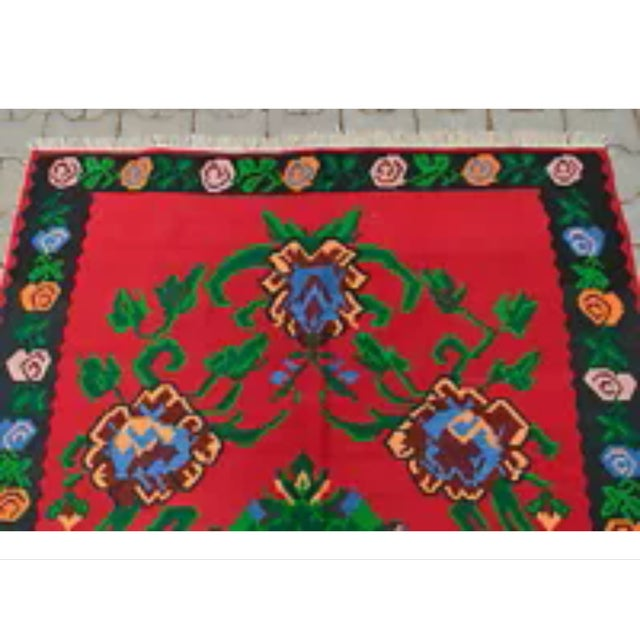 Turkish Hand-Woven Wool Kilim Rug - 5′3″ × 7′5″ - Image 4 of 8