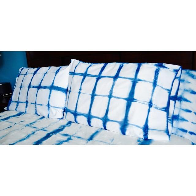 Shibori Standard Indigo/White Pillowcases - Pair - Image 4 of 4