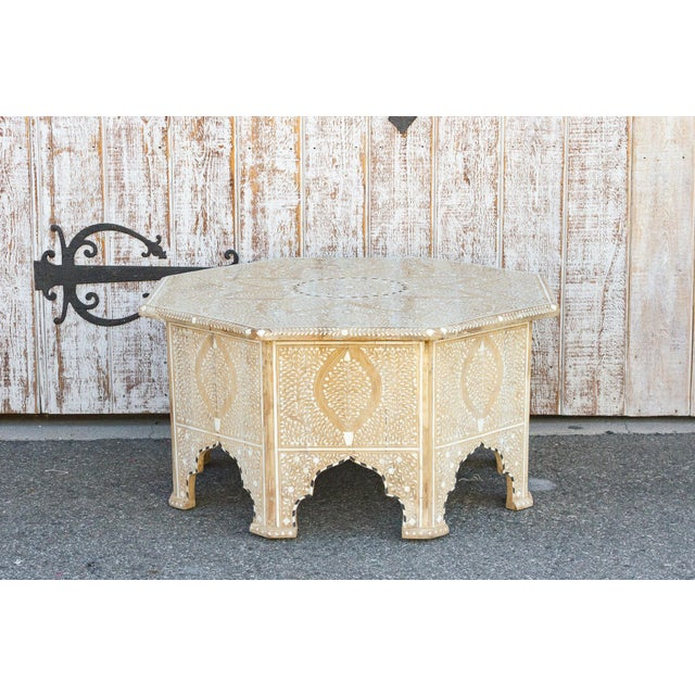 Charming Anglo Indian Farmhouse Lotus Inlaid Coffee Table For Sale In Los Angeles - Image 6 of 13