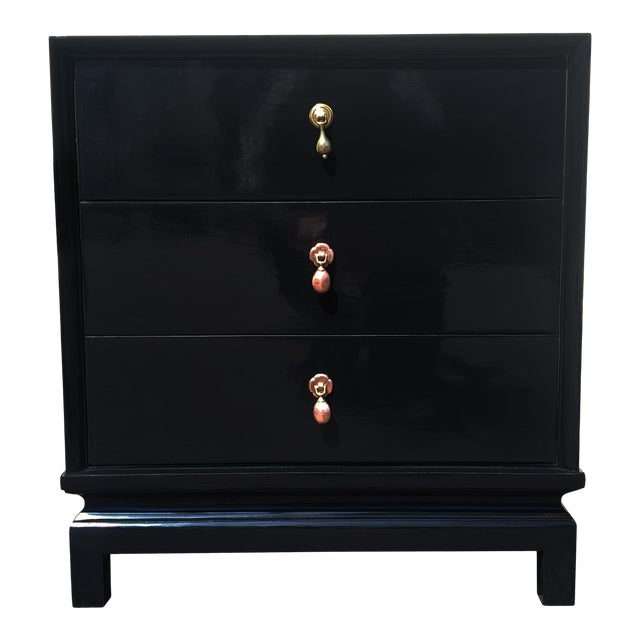 An American of Martinsville Black Lacquer Nightstand / Dresser For Sale