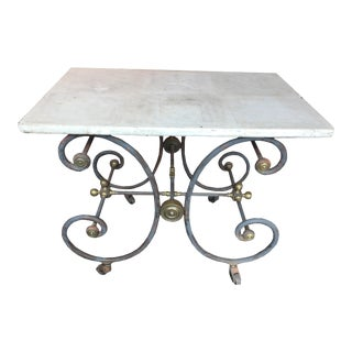 French Baker's Table With Scrolled Iron Base With Stone Top For Sale