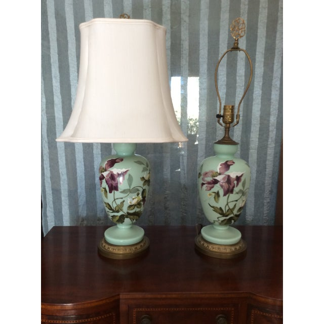 Jade 1930s Hand Painted Porcelain Lamps - a Pair For Sale - Image 8 of 12