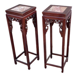 Chinese Art Deco Style Hand Carved Rosewood Marble Top Pedestal Plant Stands - A Pair For Sale