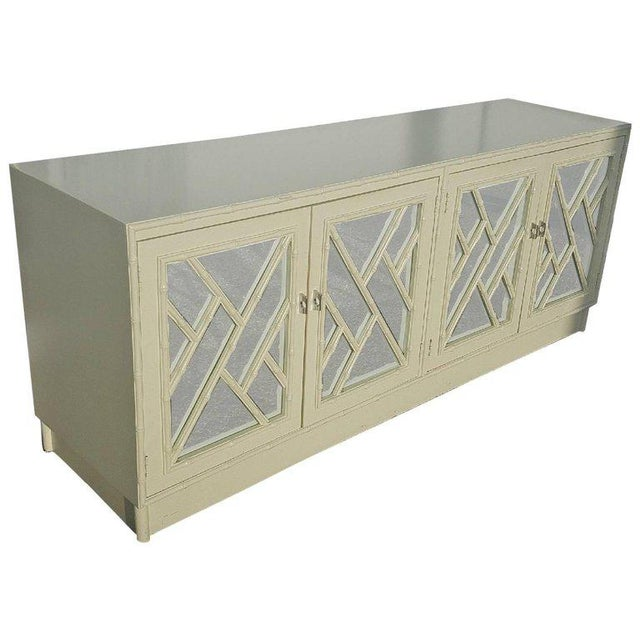 White Faux Bamboo Chinese Chippendale Credenza For Sale - Image 9 of 10