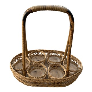 1970s Rattan Wicker Drink Caddy For Sale