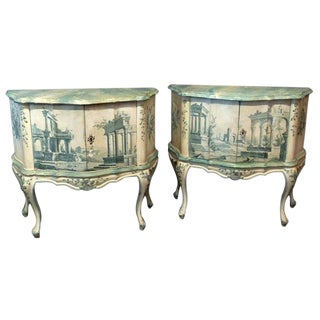 Hand Painted Serpentine Shaped Venetian Cabinets-A Pair For Sale