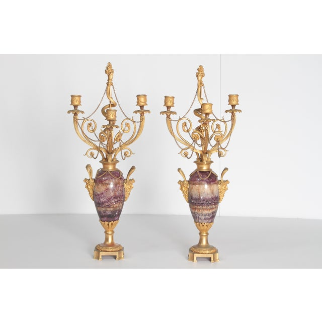 Neoclassical / Louis XVI-Style Gilt Bronze Mounted Blue John Candlelabra For Sale - Image 11 of 12