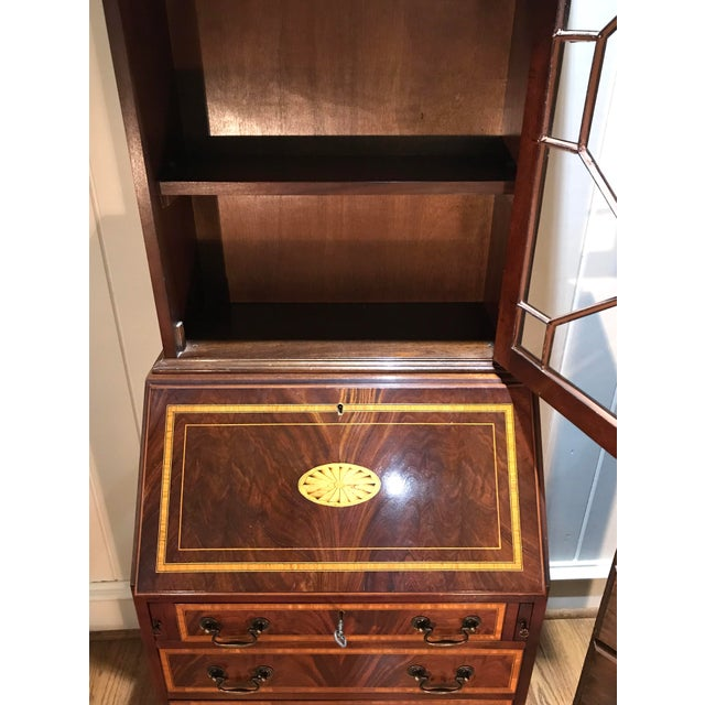 English Traditional 20th Century English Inlaid Desk Secretary With Bookcase For Sale - Image 3 of 13
