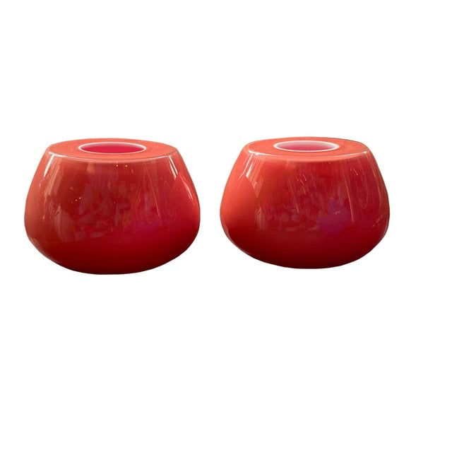 Mid 20th Century Mid-Century Murano Art Glass Candle Holders - a Pair For Sale - Image 5 of 6