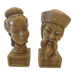 Vintage Chinoiserie Ceramic Busts - a Pair For Sale