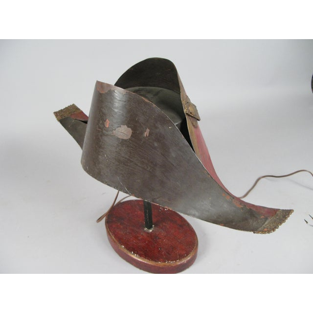 Metal Antique French Napoleonic Chapeau Lamp For Sale - Image 7 of 8
