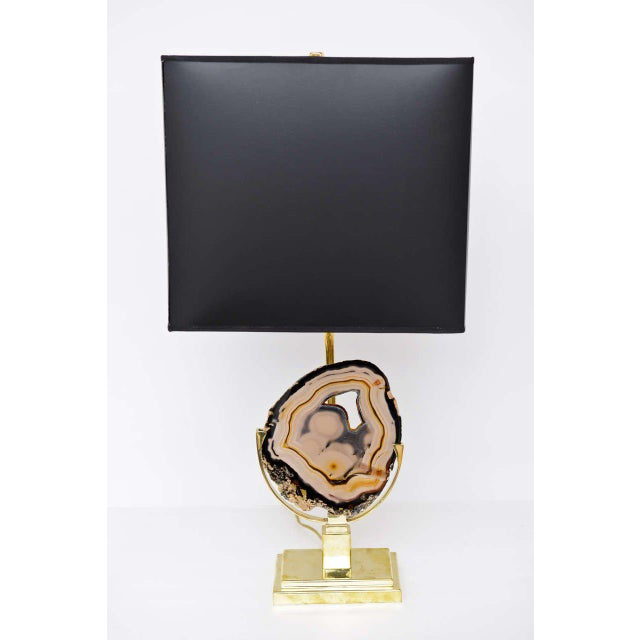 Mid-Century Modern Brass Table Lamp with Agate Disc For Sale - Image 3 of 10