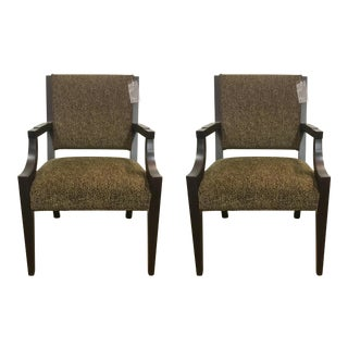 Vanguard Co. Transitional Leopard Print Arm Chairs Pair For Sale