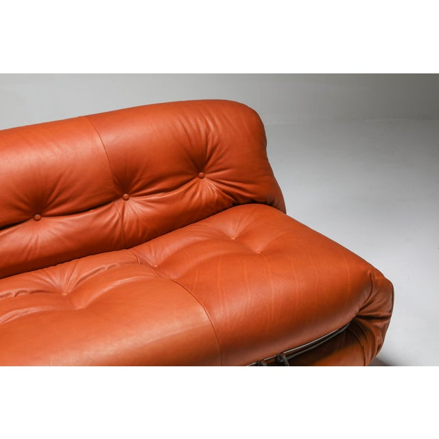 1970s Cassina Soriana Cognac Leather Sofa by Afra and Tobia Scarpa For Sale - Image 10 of 11