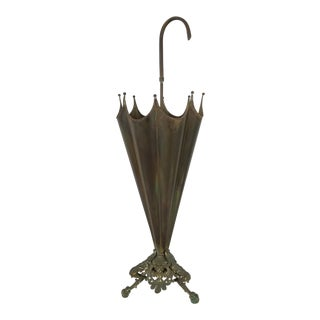 Italian Brass Umbrella Stand With Eagle Feet For Sale