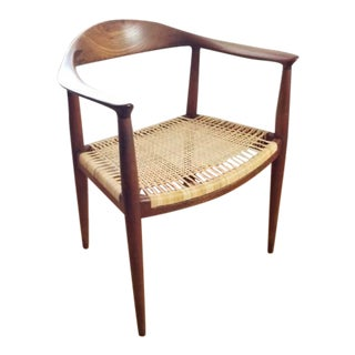 Vintage Mid Century Modern 1950s Hans Wegner Teak and Wicker Round Chair For Sale