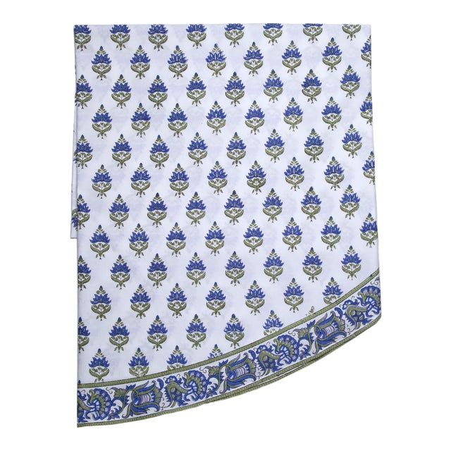 Blossom Round Tablecloth - Blue For Sale