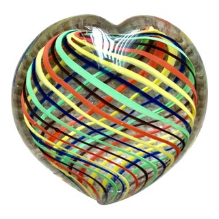 Murano Art Glass Heart Paper Weight For Sale