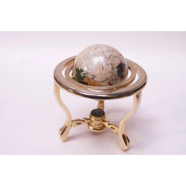 Contemporary Contemporary Petite Desk Globe in Brass, Gemstones, and Mother of Pearl For Sale - Image 3 of 13