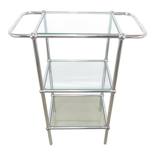 Vintage Chrome and Glass 3-Tier Bar Stand For Sale