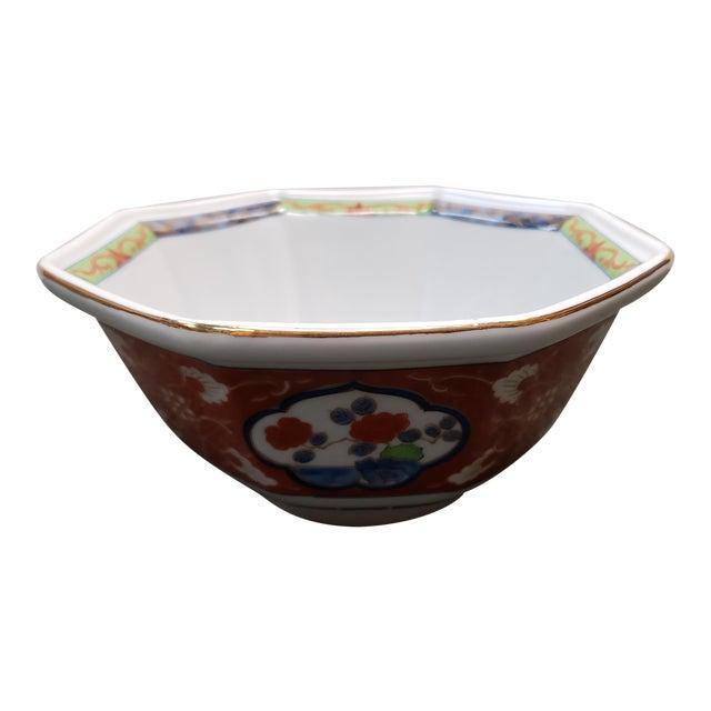 Vintage 1970s Japanese Takahashi Imari Style Porcelain Octagonal Bowl For Sale