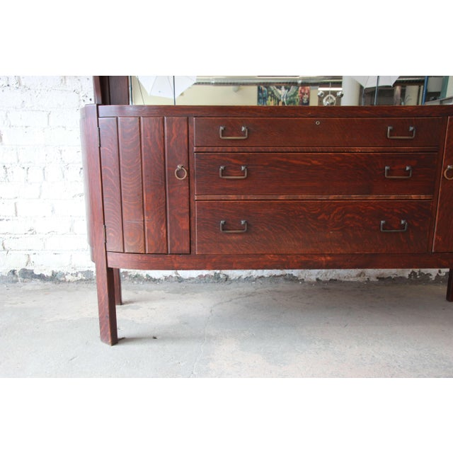 Glass Antique Mission Oak Sideboard by Grand Rapids Chair Co., Circa 1910 For Sale - Image 7 of 12