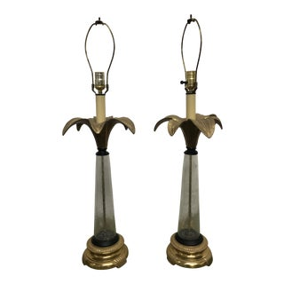 Brass and Glass Palm Tree Lamps - a Pair For Sale