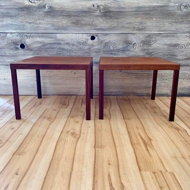 Pair of 1960s Danish modern teak side/end tables by Hans Olsen. A beautiful example of classic Scandinavian modern design,...