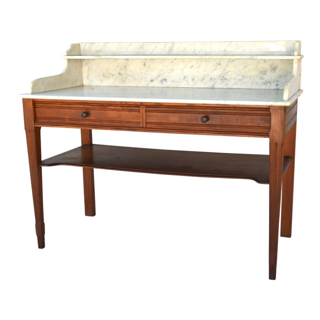 Antique Marble-Top Washstand/Table With Cedar Wood Base For Sale
