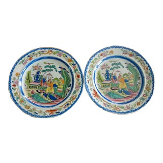"Early 1800s Mason's Ironstone Plates ""Mogul"" Pattern - a Pair For Sale"