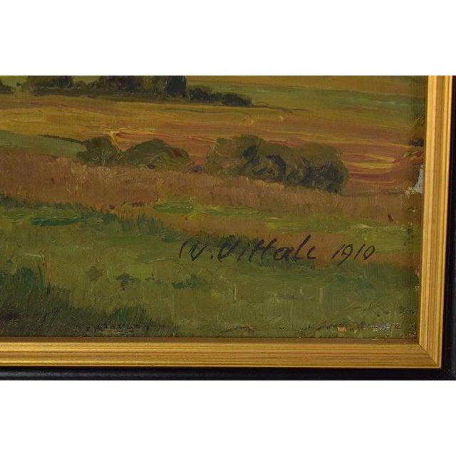 Impressionist 1910 Vintage Landscape Oil Painting by W. Vittale For Sale - Image 3 of 5
