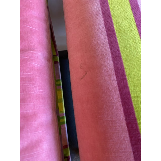 Milo Baughman Pair of Velvet Pink and Green Stripe Milo Baughman Style Parson Benches For Sale - Image 4 of 7
