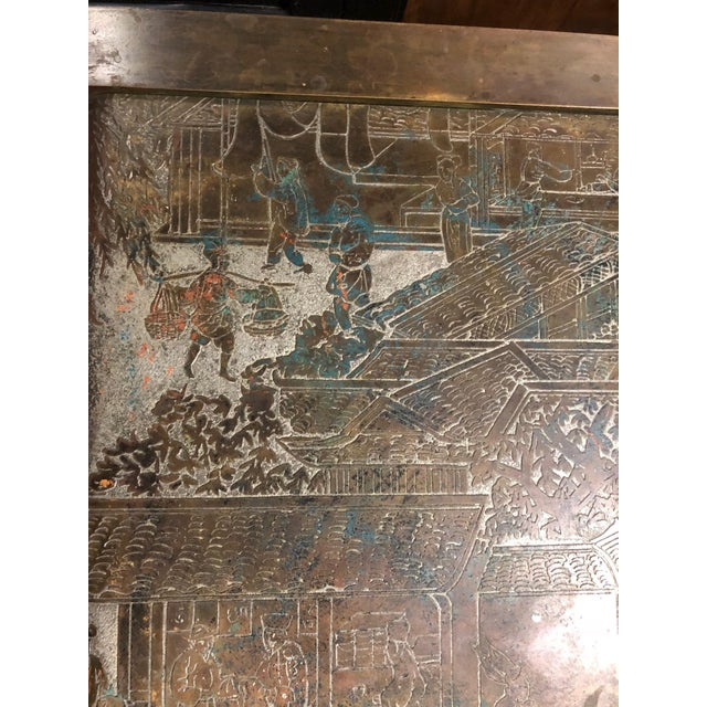 1960s Philip and Kelvin LaVerne Etched Bronze Waterfall Side Table For Sale - Image 5 of 8