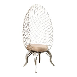 Showroom Sample Metal Silver Egg Statement Chair For Sale