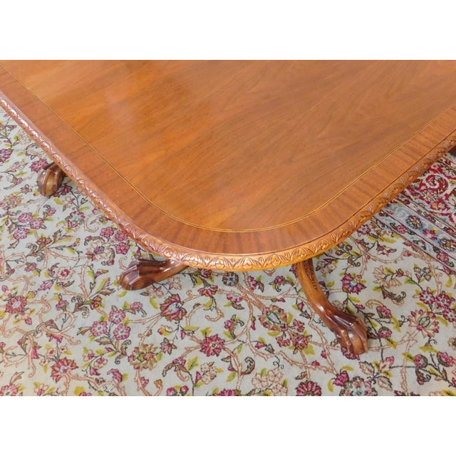 Chippendale Mahogany Banded Dining Room Table - Image 4 of 9