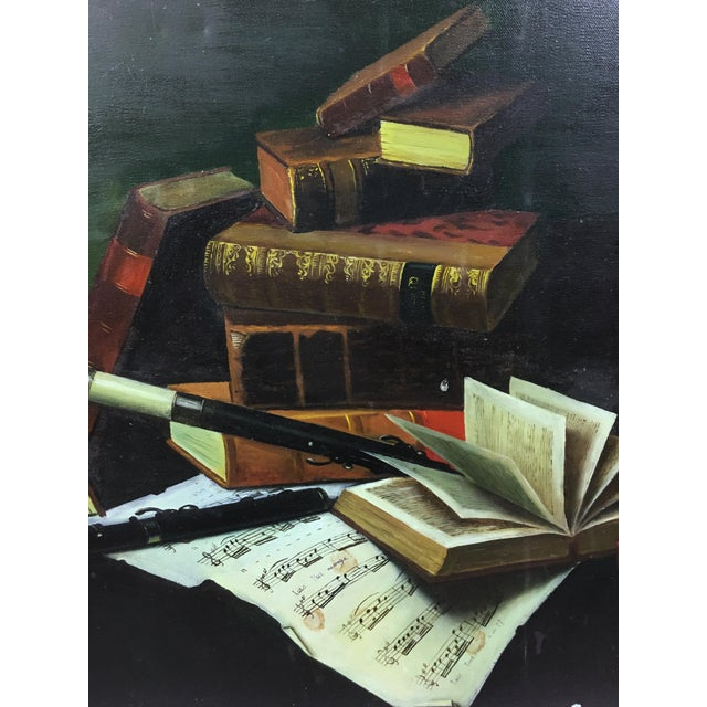 Early 20th Century Vintage Collier Style Study Room Items Still Life Painting For Sale - Image 5 of 7