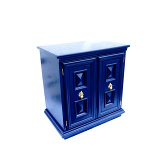 Chic Mid-Century Hollywood Regency Navy Blue & Gold Cabinet | Nightstand | Bar/Record Storage