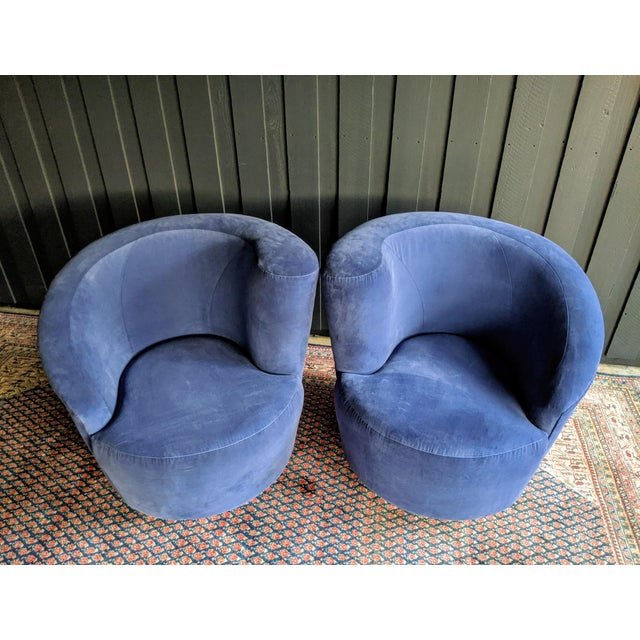 Vladimir Kagan Nautilus Swivel Chairs Reupholstered in Blue Velvet, a Pair For Sale - Image 11 of 13